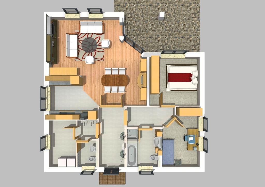 Grundriss Massivhaus des Monats März 2021 ab 212.235,00 Euro. Förderfähig durch die KFW-Bank. Bungalow SI-Chalet 104 Ü.T Lassen Sie sich inspirieren